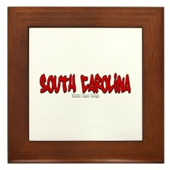 South Carolina Graffiti Framed Tile
