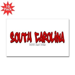 South Carolina Graffiti Rectangle Decal 10 Pack