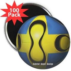 """Sweden Soccer 2.25"""" Magnet (100 pack)"""