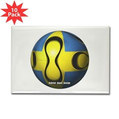 Sweden Soccer Rectangle Magnet (10 pack)