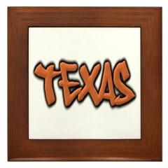 Texas Graffiti Framed Tile