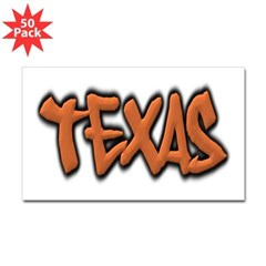 Texas Graffiti Rectangle Decal 50 Pack