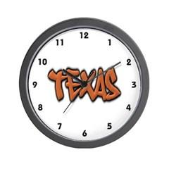 Texas Graffiti Wall Clock