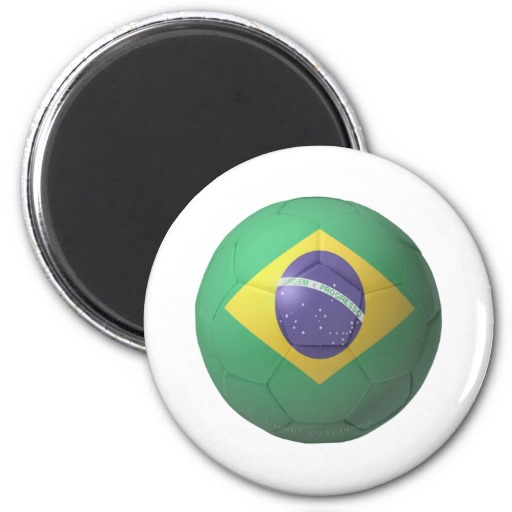 Brazil Soccer 2 Inch Round Magnet