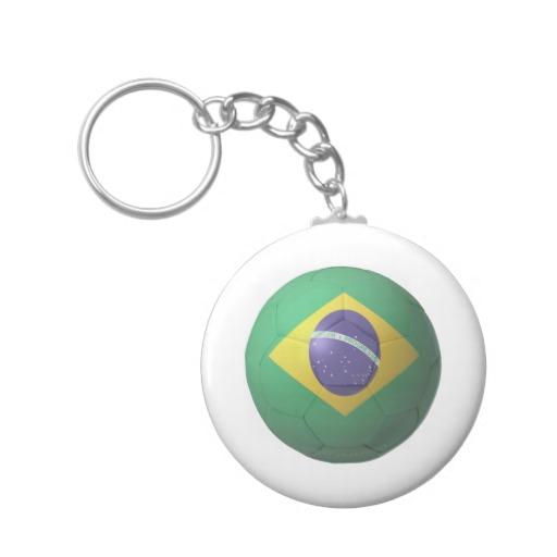 Brazil Soccer Basic Button Keychain