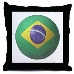 Brazil Soccer Throw Pillow