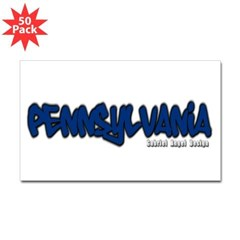 Pennsylvania Graffiti Rectangle Decal 50 Pack