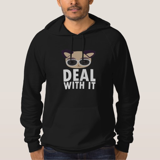 Deal With It Cat American Apparel California Fleece Pullover Hoodie