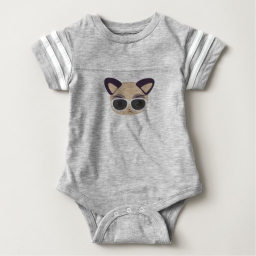Deal With It Cat Baby Football Bodysuit