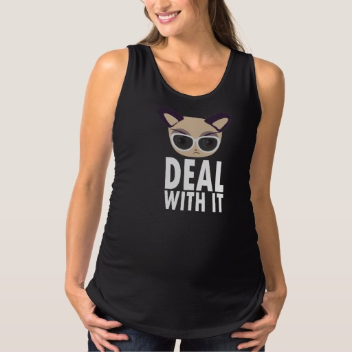 Deal With It Cat Maternity Tank Top