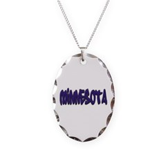 Minnesota Graffiti Necklace with Oval Pendant