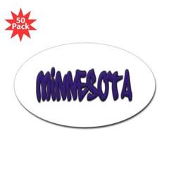 Minnesota Graffiti Oval Decal 50 Pack