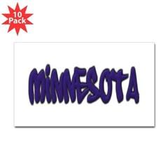 Minnesota Graffiti Rectangle Decal 10 Pack