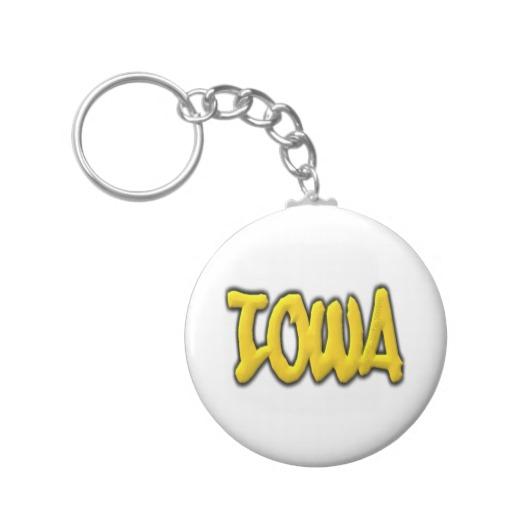 Iowa Graffiti Basic Button Keychain