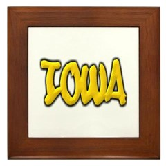 Iowa Graffiti Framed Tile