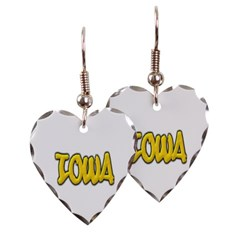Iowa Graffiti Heart Earrings