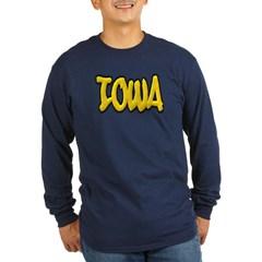 Iowa Graffiti Long Sleeve Dark T-Shirt