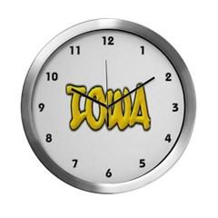 Iowa Graffiti Modern Wall Clock