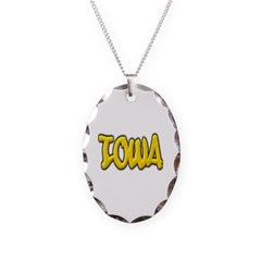 Iowa Graffiti Necklace with Oval Pendant