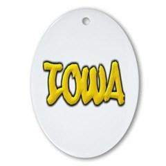 Iowa Graffiti Ornament (Oval)