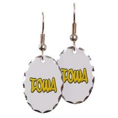 Iowa Graffiti Oval Earrings