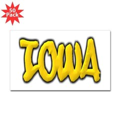 Iowa Graffiti Rectangle Decal 50 Pack