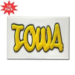 Iowa Graffiti Rectangle Magnet (10 pack)