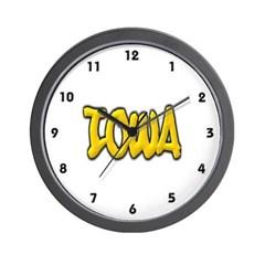 Iowa Graffiti Wall Clock