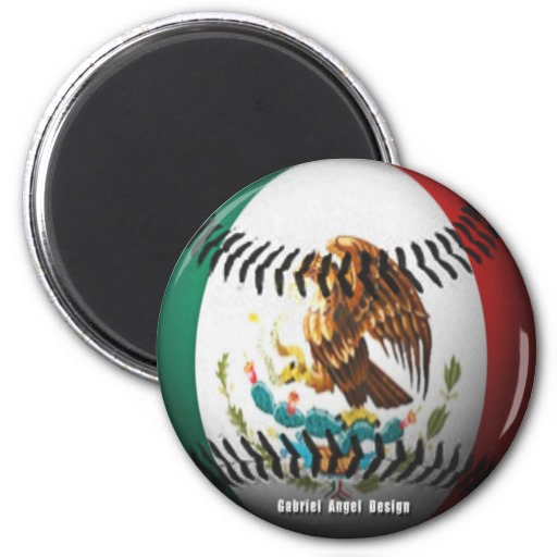 Mexico Baseball 2 Inch Round Magnet