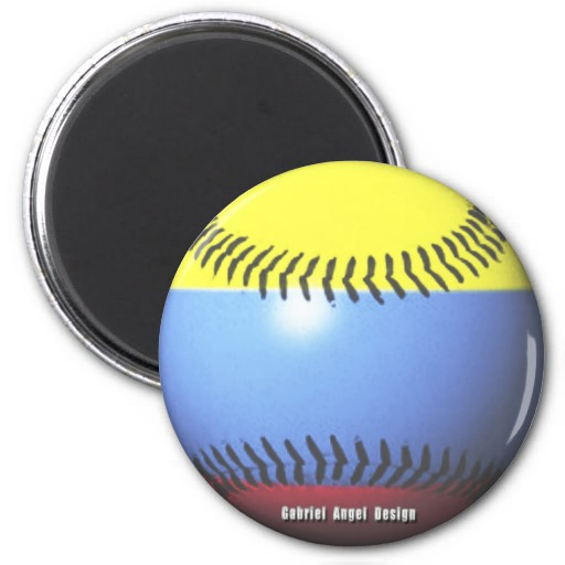 Colombia Baseball 2 Inch Round Magnet