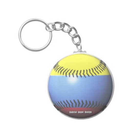 Colombia Baseball Basic Button Keychain