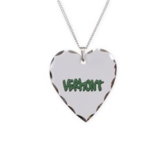 Vermont Graffiti Necklace with Heart Pendant