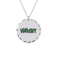 Vermont Graffiti Necklace with Round Pendant