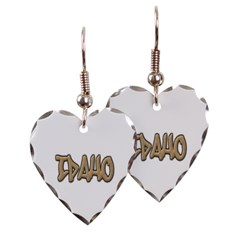 Idaho Graffiti Heart Earrings