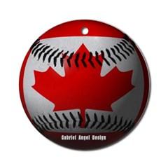 Canadian Baseball Ornament (Round)