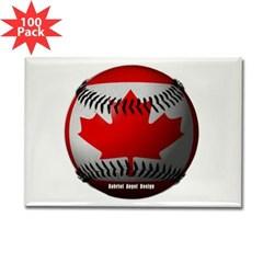 Canadian Baseball Rectangle Magnet (100 pack)