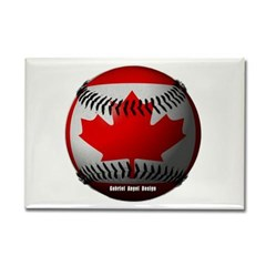 Canadian Baseball Rectangle Magnet