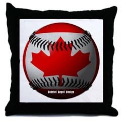 Canadian Baseball Throw Pillow