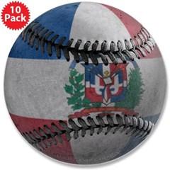 "Dominican Republic Baseball 3.5"" Button (10 pack)"