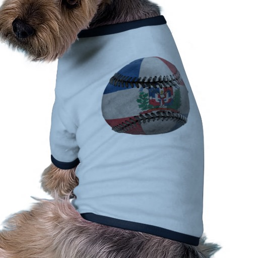 Dominican Republic Baseball Doggie Ringer T-Shirt