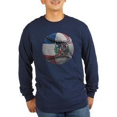 Dominican Republic Baseball Long Sleeve Dark T-Shirt
