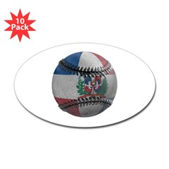 Dominican Republic Baseball Oval Sticker (10 pk)