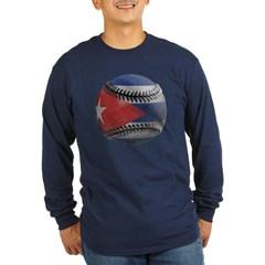 Cuban Baseball Long Sleeve Dark T-Shirt
