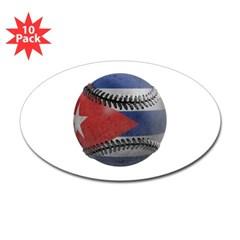 Cuban Baseball Oval Sticker (10 pk)