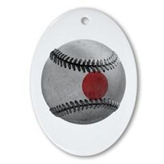 Japanese Baseball Ornament (Oval)