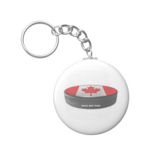 Canadian Hockey Basic Button Keychain