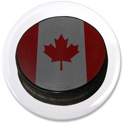 "Canadian Hockey Puck 3.5"" Button"