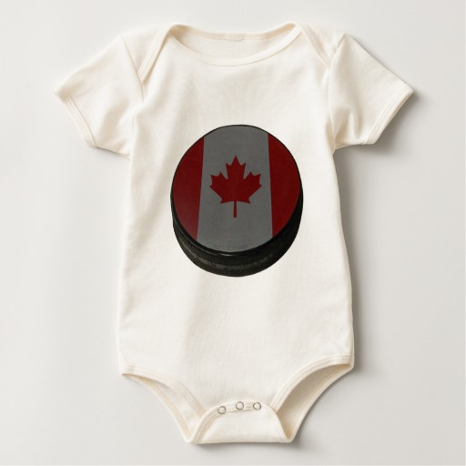 Canadian Hockey Puck Baby American Apparel Organic Bodysuit