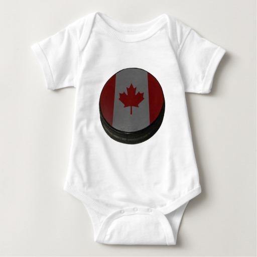 Canadian Hockey Puck Baby Jersey Bodysuit