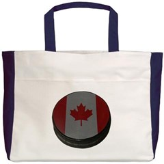 Canadian Hockey Puck Beach Tote Bag